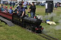 A minature locomotive, loosely modelled on an LNER V2 2-6-2 with a Group Standard tender, giving rides with a rake of suburban coaches at the Gloucestershire Vintage and Country Show, South Cerney Airfield on 6th Augst 2017.<br> <br><br>[Peter Todd&nbsp;06/08/2017]
