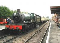 Preserved Collett 4-6-0 no 7828 <I>Odney Manor</I> seen shortly after arrival at Bishops Lydeard in June 2002.<br><br>[Ian Dinmore 06/06/2002]
