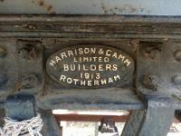 Makers plate from a Harrisons and Camm of Rotherham railway wagon dating from 1913. The old van is on a short section of track awaiting restoration at Maud station.<br><br>[Alan Cormack&nbsp;06/08/2017]
