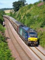 DRS 68003 <I>Astute</I> leads the Northern Belle from Edinburgh to Inverness downhill into Aberdour on 13th August 2017. Classmate 68027 was on the rear.<br> <br><br>[Bill Roberton 13/08/2017]