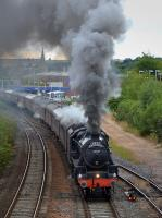 Black 5 45407 makes a spirited departure from Kirkcaldy with the returning <I>Fife & Borders</I> excursion on 13 August 2017. [Shades of <i>Where are ye gang next Mr <b>Roberton</b></i> -Ed]<br><br>[Bill Roberton&nbsp;13/08/2017]