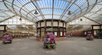 The concourse at Wemyss Bay with the flowers in full bloom.<br><br>[Alastair McLellan&nbsp;01/08/2017]
