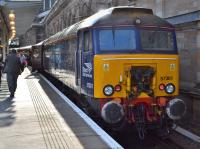 DRS 57301 <I>Goliath</I> at Platform 9 in Waverley station with the returning <I>Northern Belle</I> to Manchester Victoria on 19th August 2017. DRS 57303 <I>Pride of Carlisle</I> was on the rear of the train. <br> <br><br>[Bill Roberton&nbsp;20/08/2017]