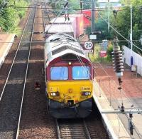The 0422 ex-Tees Dock leaves the Craiglockhart Junction - Slateford Junction spur on 10 August 2017 heading for Carstairs and the WCML en route to Mossend Euroterminal.<br><br>[John Furnevel&nbsp;10/08/2017]