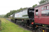 Visiting from the Worth Valley Railway, <I>Spam Can</I> West Country 4-6-2 34092 <I>City of Wells</I> slows to call at Irwell Vale whilst running tender first from Rawtenstall to Heywood on 19th Augst 2017. <br><br>[Mark Bartlett&nbsp;19/08/2017]