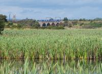 A southbound 380 crosses the River Garnock with Kilwinning in the background and the Bartonholm marsh in the foreground. The distant tower belongs to Kilwinning Abbey.<br><br>[Ewan Crawford&nbsp;17/08/2017]