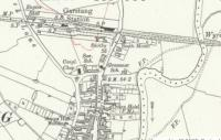 1910 OS map extract of the Knott End Railway's Garstang Town station, then on the outskirts of the town. The layout includes the island platform, goods shed carriage sheds and also the engine shed of this independent railway, later the smallest constituent of the LMS. The station closed to passengers in 1930 and to goods in 1965. The station site was later cleared for housing but before that happened the engine shed was dismantled and later re-erected less than half a mile away at a local hauliers depot [See image 60593]. Reproduced with the permission of the National Library of Scotland http://maps.nls.uk/index.html.<br><br>[Mark Bartlett&nbsp;//1910]