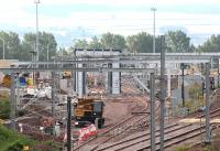 Progress at Millerhill on 3 September 2017. General view south showing the second of the new junctions, with the line now running past the washing plant towards the stabling bays, just visible through the clutter in the background.<br><br>[John Furnevel&nbsp;03/09/2017]
