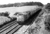 A Summer Saturday train from Blackpool seen between Kirkham & Wesham and Salwick stations behind Brush Type 2 31293 on 7th August 1982. The former D5826 was built in 1961 and would last in service until 1990 before being scrapped at Stratford in 1994. <br><br>[Mark Bartlett&nbsp;07/08/1982]