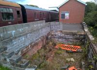 The former, and hopefully future, site of Blaenavon High Level signal box. Notice the slots to allow the rodding to pass through the brick lower wall.<br><br>[Ken Strachan&nbsp;19/08/2017]