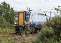 380020 passes the site of Bogside Junction.<br><br>[Ewan Crawford&nbsp;17/08/2017]