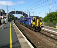 A Glasgow Central to Edinburgh stopping service calls at Bellshill on 2<br> September 2017. In the not too distant future these services will be electric powered<br> and masts are going up in the Shotts area.<br> <br><br>[David Panton&nbsp;02/09/2017]