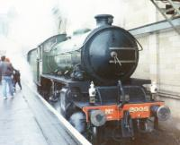 LNER/BR Peppercorn Class K1 2-6-0 no. 2005 <I> Lord of the Isles </I> stands at a Sub platform waiting to take an SRPS Santa Special around the South Sub. This was the final year of steam-hauled specials from Waverley before electrification.<br><br>[Charlie Niven&nbsp;/12/1987]