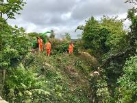 Vegetation clearance under way on the embankment east of the Muirhead Road overbridge. A temporary pedestrian and services bridge will be installed at this location during the works to replace the bridge deck.<br><br>[Colin McDonald&nbsp;05/09/2017]
