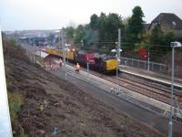 OHL engineering test train at Larkhall in November 2005 with Class 37 leading with Class 31 at rear.<br><br>[Gordon Steel&nbsp;23/11/2005]