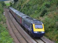 Dawn of a new era as ScotRail HST (power cars 43132 and 43021) nears Aberdour, heading from Craigentinny to Aberdeen on 10 September.<br> <br> <br><br>[Bill Roberton 10/09/2017]