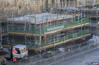 The first of the new buildings in the old car park area at Queen Street begins to take shape. [See image 59772] for an earlier photo of its curious foundations.<br><br>[Colin McDonald&nbsp;11/09/2017]