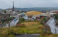 The approach to the original Ayr station, seen from the north. Much of the site is built over and has new roads, as seen in the background. The original Ayr Shed was distant, on the right.<br><br>[Ewan Crawford&nbsp;07/09/2017]