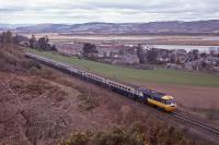 Viewed from Clatchard Craig an Edinburgh - Aviemore charter HST passes Newburgh.  28th April 1979.<br><br>[Graeme Blair&nbsp;28/04/1979]