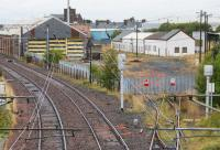 The out of use Ayr MPD viewed from the south, site of the former Hawkhill Junction. Track has been lifted but the buildings remain.<br><br>[Ewan Crawford&nbsp;07/09/2017]
