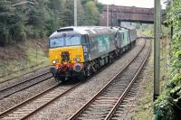 A special working through Hest Bank. DRS 57304 <I>Pride of Cheshire</I> hauls electro-diesel 88005 <I>Minerva</I> and a single MkII coach from Crewe to Kingmoor on 20th September 2017. <br><br>[Mark Bartlett&nbsp;20/09/2017]