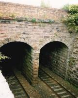Midway between Gilshochill and Possilpark & Parkhouse stations the line passes below the Forth & Clyde Canal. Photograph showing the location in 1995. [Ref query 16 September 2017] <br><br>[James C Wilson Collection&nbsp;//1995]