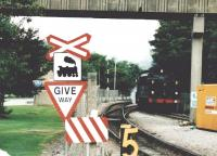 For once, the sign is right: there's a steam engine crossing [see image 58266]. Scene at Hope Blue Circle cement work on 17 September 2005. [Ref query 23 September 2017]<br><br>[Ken Strachan&nbsp;17/09/2005]