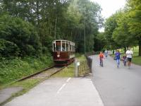 Former Hull Corporation tramcar No.96 at work on the Heaton Park Tramway in Manchester. The tram is heading away from the camera towards the terminus near the<br> lakeside cafe.<br> <br> <br><br>[Douglas Blades&nbsp;23/07/2017]