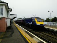 'New Era' cut-down HST sets come into service on Scotrail next year. The driver training set makes a dummy stop at Stonehaven, heading north, on 26 September 2017. This early, it might even be driver trainer training.<br> <br> <br><br>[David Panton&nbsp;26/09/2017]