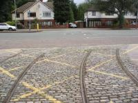 The rails of the Heaton Park Tramway reach out forlornly into Middleton<br> Road, Manchester looking for the Manchester Corporation network which they were connected to from 1903 until 1934. A stretch of the original tramway in the park was reopened in 1980 and has since been progressively extended. <br> <br> <br><br>[Douglas Blades&nbsp;23/07/2017]