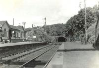 Platform scene at Fairlie High on 24 May 1960, looking north towards the tunnel.<br><br>[G H Robin collection by courtesy of the Mitchell Library, Glasgow&nbsp;24/05/1960]