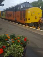 37421 working a track inspection train at Kilmarnock with 37219.<br><br>[John Yellowlees&nbsp;02/08/2017]