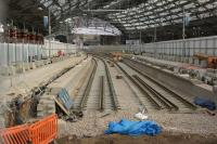 Platforms 7 and 8 being rebuilt at Liverpool Lime Street on 26 September 2017. This work is taking place prior to the closure of the station from 30 September until 8 October but then there is only a limited service until 22 October. The platforms are being significantly redesigned during this work and one other improvement will see the removal of bullhead rail.<br><br>[John McIntyre&nbsp;26/09/2017]