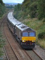 Belmond-liveried GBRf 66746 nears the site of Crossgates station with the Edinburgh - Keith 'Royal Scotsman' on 18 September 2017.<br> <br> <br><br>[Bill Roberton&nbsp;18/09/2017]