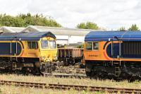 GBRf locos 66740 <I>Sarah</I> and un-named 66758 stabled in the station sidings at Eastleigh on 14th September 2017.<br> <br> <br><br>[Peter Todd&nbsp;14/09/2017]