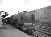 Stanier Pacific 46236 <I>City of Bradford</I> stands at Carlisle on 3 August 1963 after taking charge of the 1000 Euston - Perth.<br><br>[K A Gray&nbsp;03/08/1963]