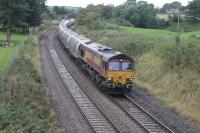Closely following 60163 and <I>The Border Raider</I> through Long Preston on 16th September 2017 was DBS 66176 with a long rake of cement tankers from Avonmouth to Horrocksford Cement Works. This train had been diverted due to an engineering possession south of Clitheroe but had (remarkably) run via Shap and the S&C rather than the Little North Western route through Wennington.  <br><br>[Mark Bartlett&nbsp;16/09/2017]