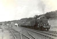 <I>'Crab'</I> 2-6-0 42806 leaving Fairlie High on 24 May 1960 with a Largs - St Enoch train. <br><br>[G H Robin collection by courtesy of the Mitchell Library, Glasgow&nbsp;24/05/1960]