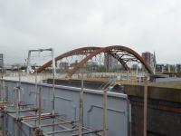The new Ordsall Chord, nearing completion, as seen from what is now the boundary of the Museum of Science and Industry on 8th October 2017. Liverpool Road station is immediately behind the camera with the now severed main line connection crossing the grey bridge in the foreground.  <br><br>[Mark Bartlett&nbsp;08/10/2017]