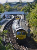 Freightliner 66597 and 66952 pass through Inverkeithing Station with a Millerhill - Keith concrete sleeper train on Sunday 8th 2017 October.<br> <br> <br><br>[Bill Roberton&nbsp;08/10/2017]