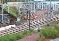 Weekend work in progress at Millerhill on 8 October 2017. The activity is centred around the route of the line between the northerly of the two new junctions [see image 59712] and the washing plant in the background, through which track has already been laid.  <br><br>[John Furnevel&nbsp;08/10/2017]