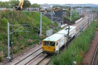 SB Rail tamper DR 73803 restarts northbound out of Millerhill Yard following a signal check on 24 September 2017. The unit had been engaged in preparatory work on the new ScotRail stabling sidings. <br><br>[John Furnevel&nbsp;24/09/2017]