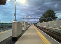 Platform view at Cambridge North on 10 July 2017, approximately 7 weeks after opening. This photograph is probably deceptive - there may be few trains in the evening, but there are many during the day, when I'm sure the station is very busy. Still, it looks very smart when it's empty. View north towards Ely.<br><br>[Ken Strachan&nbsp;10/07/2017]