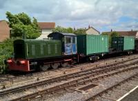I'm sure those ISO containers are younger than Drewry 04 shunter D2271. But it's a strange and interesting contrast, seen at Minehead in May 2017.<br><br>[Ken Strachan&nbsp;13/05/2017]
