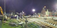 View east at Wards Road showing Elgin West Signal Box has gone.  The Wards has very bright light for work at night so it is easy to make out what is going on.<br><br>[Crinan Dunbar&nbsp;10/10/2017]