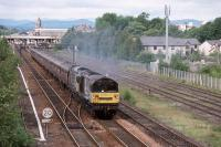 58045 and 58025 depart Perth with the return leg of the Worksop Highlander tour on  29th June 2002.<br> <br> <br><br>[Graeme Blair&nbsp;29/06/2002]