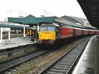 A Virgin CrossCountry service heading for Plymouth calls at Bristol Temple Meads on a wet 7 June 2002, with locomotive 47812 <I>Pride of Eastleigh</I> undergoing a crew change. <br><br>[Ian Dinmore&nbsp;07/06/2002]