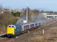 Running in the guise of former Finsbury Park classmate 55003 'Meld', 55022 sets off from Perth with an Inverness - Polmadie ECS working on 27th March 2015.<br> <br> <br><br>[Graeme Blair&nbsp;27/03/2015]
