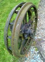 The Birkhead Gardens, near the Tanfield Railway, claims to have a Railway Theme. I can't help feeling that these flanged wheels never actually ran on rails.<br><br>[Ken Strachan&nbsp;11/07/2015]