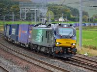DRS 88009 <I>Diana</I> speeds through Abington loops with the Daventry - Mossend Tesco train on 3rd October 2017.<br> <br> <br><br>[Bill Roberton&nbsp;03/10/2017]